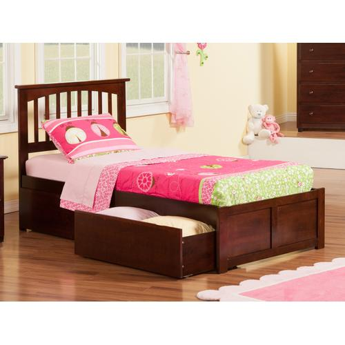 Mission Twin Flat Panel Foot Board with 2 Urban Bed Drawers Walnut