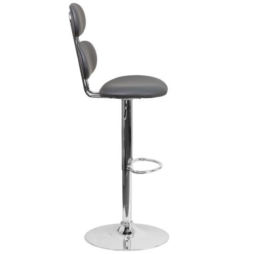 Contemporary Gray Vinyl Adjustable Height Barstool with Chrome Base