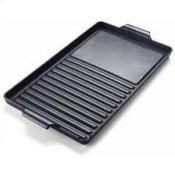 """Cast Iron Grill / Griddle Combination - W 9"""" D 15"""" - 7 1/2"""" lbs."""