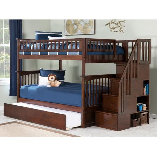 Columbia Staircase Bunk Bed Full over Full with Urban Trundle Bed in Walnut