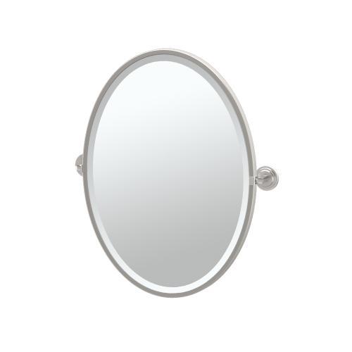 Marina Framed Oval Mirror in Satin Nickel