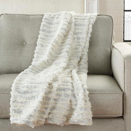 "Fur Vv006 Ivory/silver 50"" X 60"" Throw Blanket"