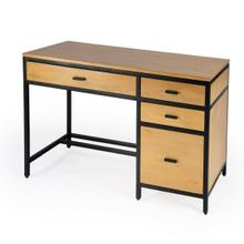 See Details - Modern and industrial, the Hans Computer Desk is made from beautifully crafted Mango wood with Gamelina Veneers, MDF, and encompassed with Iron in a smooth black epoxy finish. The clean lines and unfussy design make this piece functional in a number of different aesthetics. This setup features full extension drawers and side mounted metal glides to ensure smooth and easy motion. One wide drawer is located centrally on the desk and there is a built in file cabinet to your right with two 4.5 'H drawers on top of a file cabinet. This piece is the perfect addition to your home office.