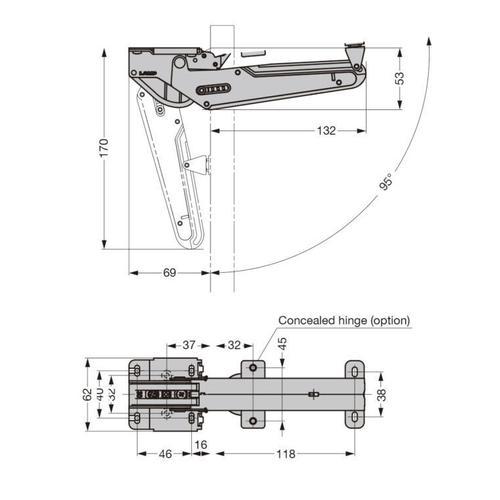 Lift-assist Lid Stay, Soft-close (upward Opening)