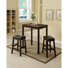 ACME Idris 3Pc Pack Counter Height Set - 70540 - Faux Marble & Espresso PU
