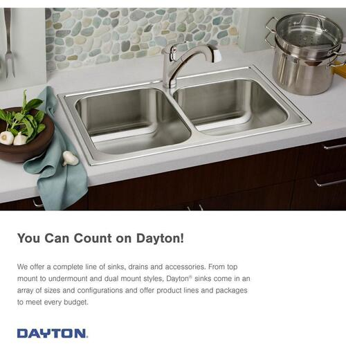 "Dayton Stainless Steel 33"" x 19"" x 6-7/16"", Equal Double Bowl Drop-in Sink"
