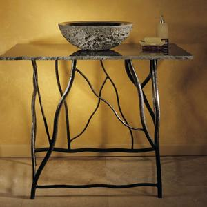 Iron Branch Console With Top Black Granite Product Image