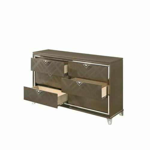 ACME Skylar Dresser - 25325 - Glam, Contemporary - Wood (Rbw), Paper Veneer (PU), MDF, PB, Acrylic Leg - Dark Champagne