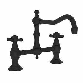 Flat Black Kitchen Bridge Faucet