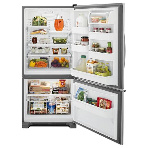 Whirlpool - 30-inches wide Bottom-Freezer Refrigerator with Accu-Chill™ System - 18.7 cu. ft. Stainless Steel