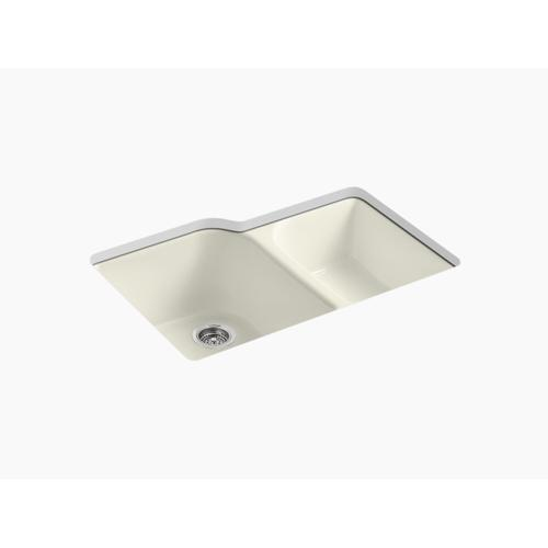 """Biscuit 33"""" X 22"""" X 10-5/8"""" Undermount Large/medium, High/low Double-bowl Kitchen Sink With 4 Oversize Faucet Holes"""