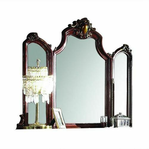ACME Picardy Mirror - 27844 - Traditional, Vintage - Wood (Aspen/Poplar), MDF, Poly-Resin - Cherry Oak