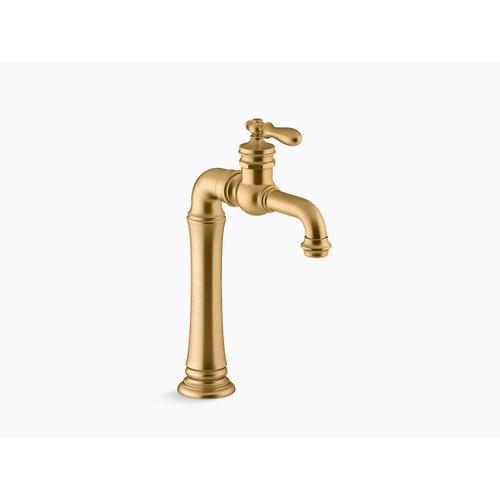 Vibrant Brushed Moderne Brass Single-handle Bathroom Sink Faucet