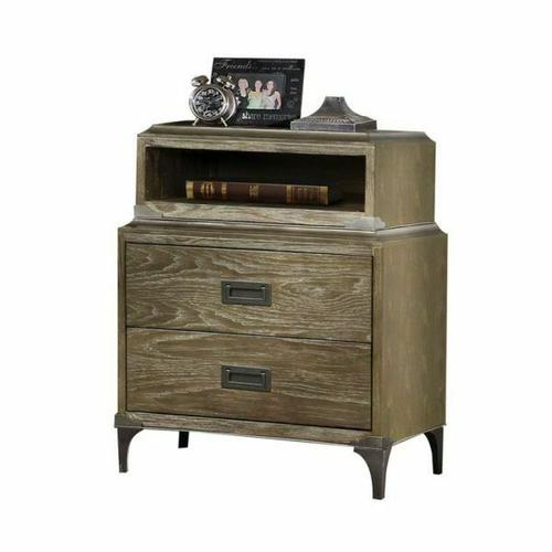 ACME Athouman Nightstand (Qi Wireless Charge) - 23927 - Weathered Oak