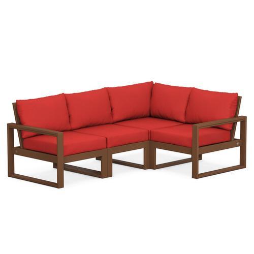 Polywood Furnishings - EDGE 4-Piece Modular Deep Seating Set in Teak / Crimson Linen
