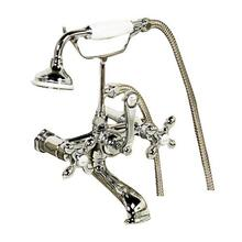 Clawfoot Tub Filler - Elephant Spout, Hand Held Shower, Swivel Mounts - Cross Handles / Polished Chrome