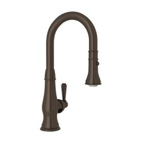 Patrizia Pulldown Bar and Food Prep Faucet - Tuscan Brass with Metal Lever Handle