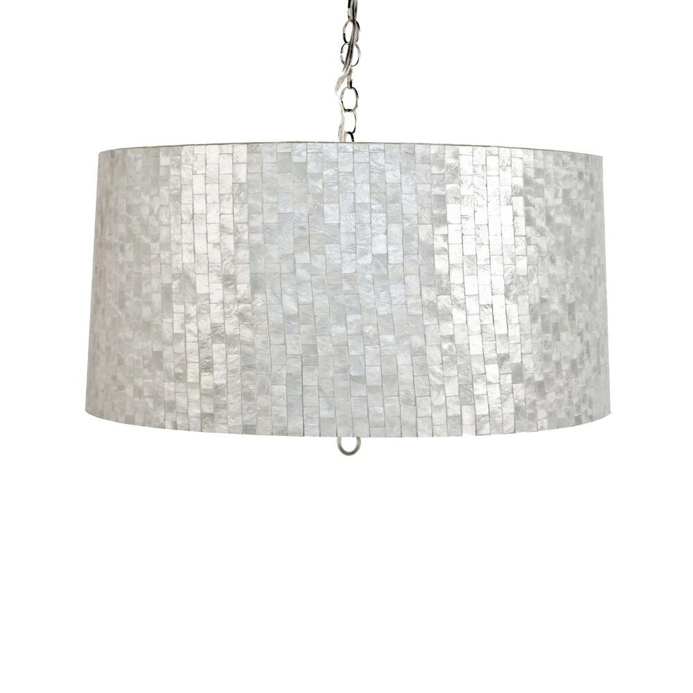 Delight In the Shimmering, Luminescent Finish Created By Hundreds of Small, Reflective Capiz Shells, All Arranged In an Intricate Brick Pattern On This Extraordinary Pendant. Brings Beautiful, Unexpected Texture To Any Room, Yet It Is Still Neutral Enough To Seamlessly Integrate With A Variety of Interior Design Styles.