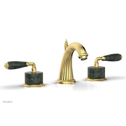 VALENCIA Widespread Faucet Green Marble K338F - Satin Gold