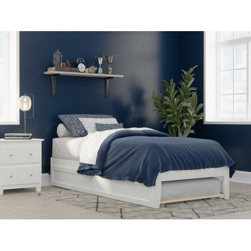 Colorado Twin Extra Long Bed with USB Turbo Charger and Twin Extra Long Trundle in White