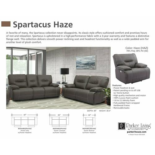 Parker House - SPARTACUS - HAZE Power Loveseat