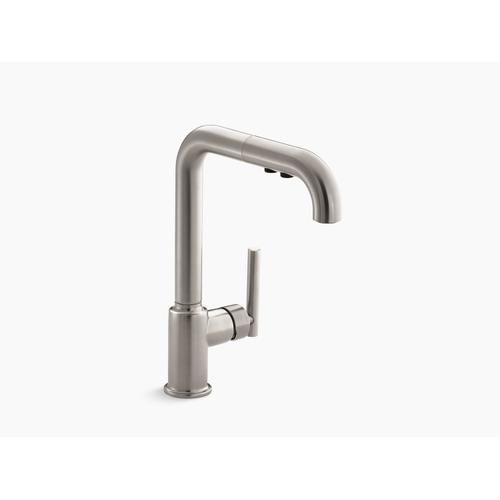 """Vibrant Stainless Single-hole Kitchen Sink Faucet With 8"""" Pull-out Spout"""