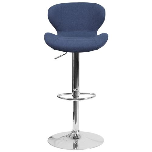 Alamont Furniture - Contemporary Blue Fabric Adjustable Height Barstool with Chrome Base