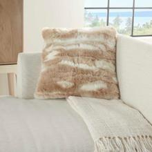 "Faux Fur Vv017 Beige 20"" X 20"" Throw Pillow"