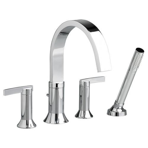 Berwick Deck-Mount Bathtub Faucet with Lever Handles - Polished Chrome