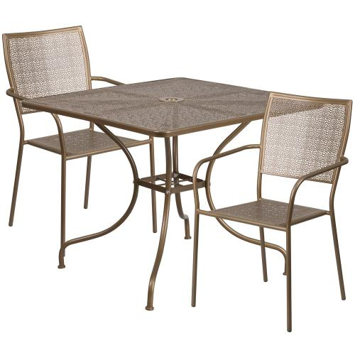 35.5'' Square Gold Indoor-Outdoor Steel Patio Table Set with 2 Square Back Chairs