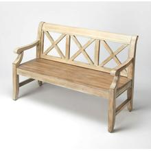"""See Details - This alluring transitional bench is a welcome addition in any space. Crafted from poplar hardwoods and wood products, it features bold """"X """" back supports and oak veneers in a fashionable Driftwood finish."""
