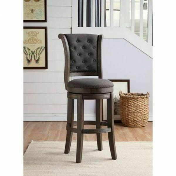 ACME Glison Counter Height Chair (1Pc) - 96456 - Charcoal Fabric & Walnut