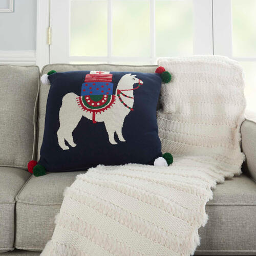 "Home for the Holiday Uk916 Multicolor 20"" X 20"" Throw Pillow"