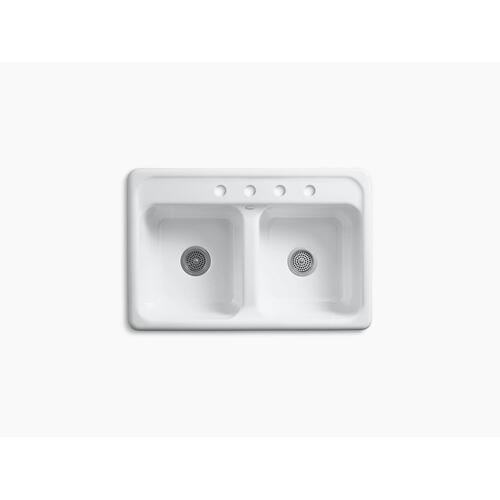 """White 33"""" X 22"""" X 8-1/2"""" Top-mount Double-equal Kitchen Sink With 4 Faucet Holes"""