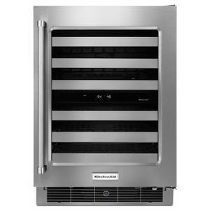 """KitchenAid24"""" Stainless Steel Wine Cellar with Metal-Front Racks"""