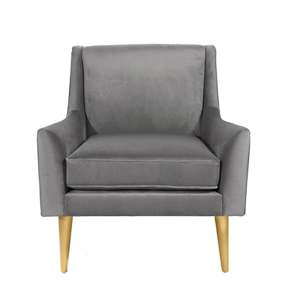 Lounge Chair With Brass Legs In Grey Velvet