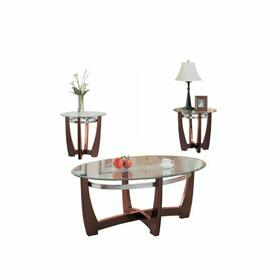 ACME Baldwin 3Pc Coffee/End Table Set - 07806 - Walnut & Clear Glass