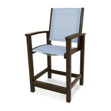 Mahogany & Poolside Coastal Counter Chair