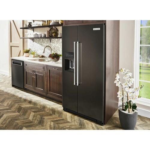 KitchenAid - 19.9 cu ft. Counter-Depth Side-by-Side Refrigerator with Exterior Ice and Water and PrintShield™ finish - Black Stainless Steel with PrintShield™ Finish