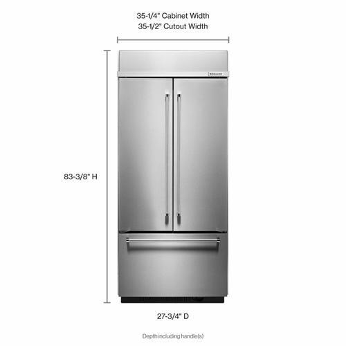 "KitchenAid - 20.8 Cu. Ft. 36"" Width Built In Stainless Steel French Door Refrigerator with Platinum Interior Design"