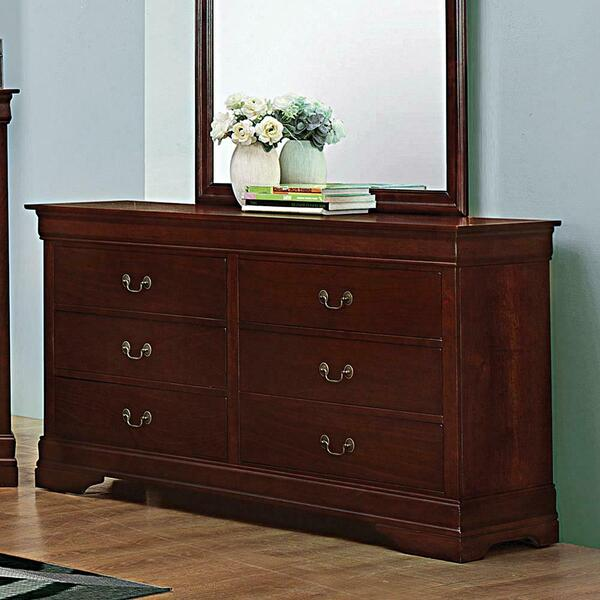 See Details - Louis Philippe Reddish Brown Six-drawer Dresser