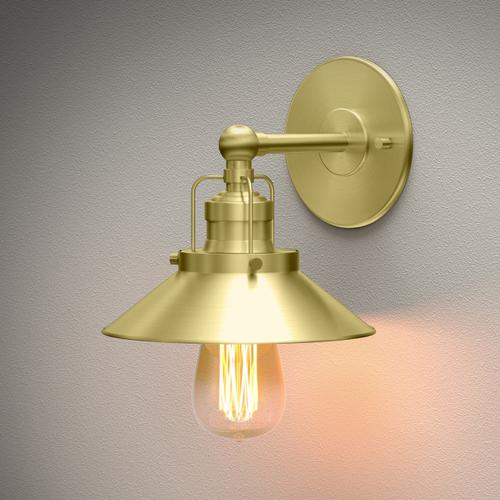 Modern Farmhouse Retro Lighting Sconces in Bright Brushed Brass