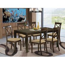 7 PC Dining room set-Kitchen Tables with Leaf Plus 6 Chairs for Dining room
