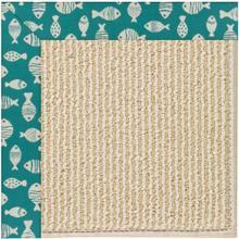 "Creative Concepts-Beach Sisal Go Fish Turquoise - Rectangle - 24"" x 36"""