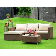 3Pc Brown Wicker Outdoor-Furniture Sectional Sofa Set Includes a Patio Table and Linen Fabric Cushion, Medium