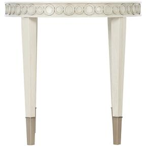 Allure Round Chairside Table in Silver Mist (399), Manor White (399)