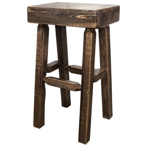 Homestead Collection Half Log Barstool, Stain and Lacquer Finish