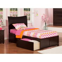 Soho Twin Flat Panel Foot Board with 2 Urban Bed Drawers Espresso