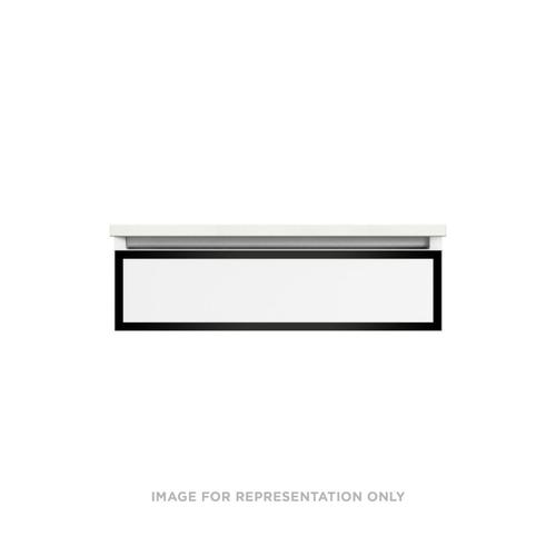 """Profiles 30-1/8"""" X 7-1/2"""" X 21-3/4"""" Modular Vanity In Satin White With Matte Black Finish and Slow-close Tip Out Drawer"""