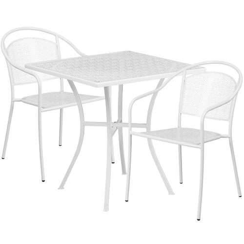 28'' Square White Indoor-Outdoor Steel Patio Table Set with 2 Round Back Chairs